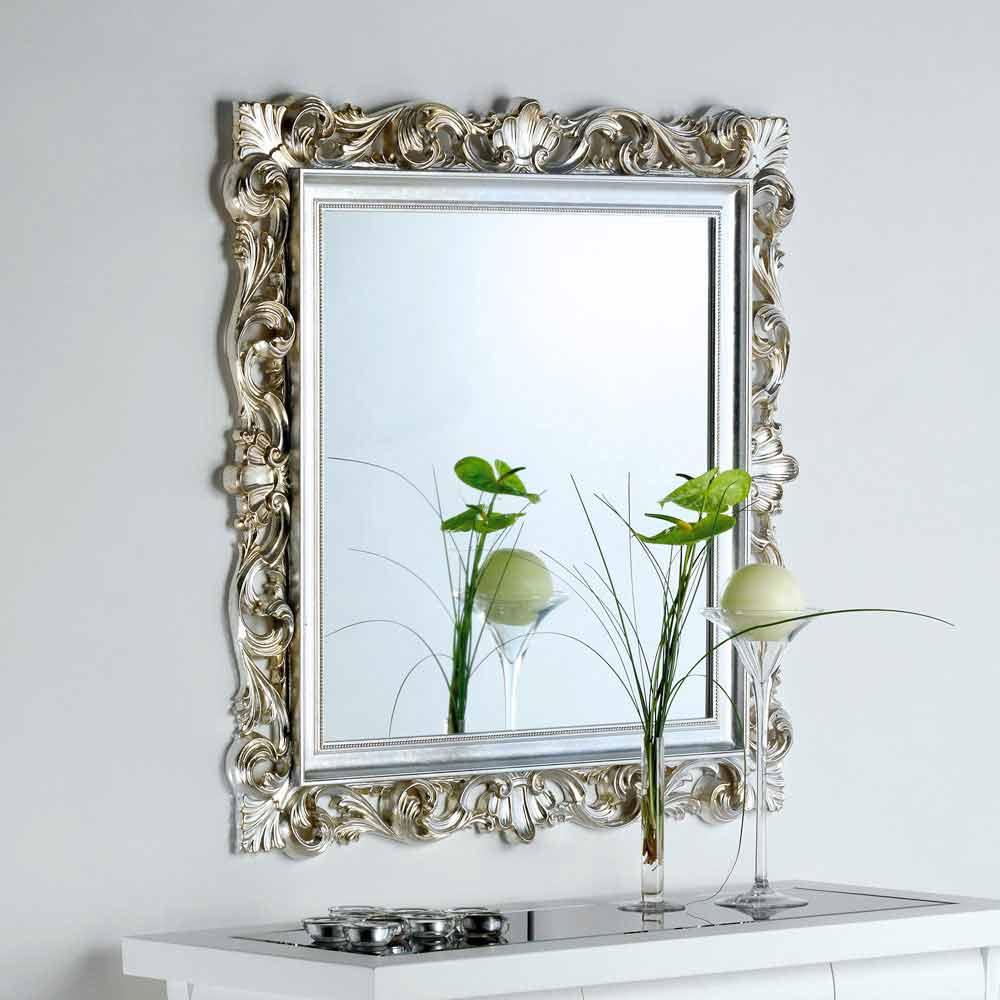Pareti A Specchio Design designer spegel med dekorerade ram marsy, 98x98 cm