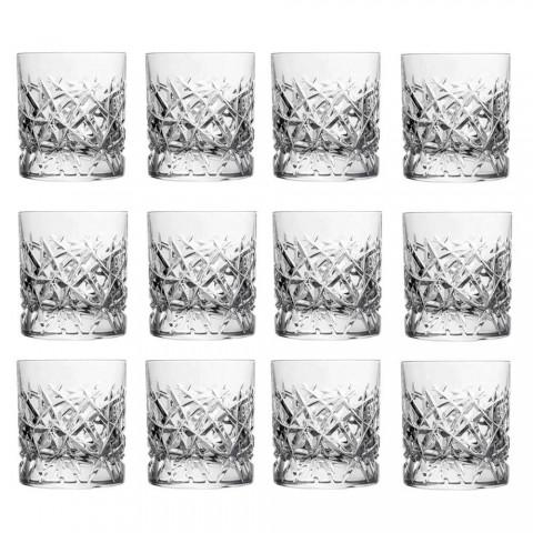 12 Dof Vintage-glasögon för design av vatten eller whisky i kristall - titan