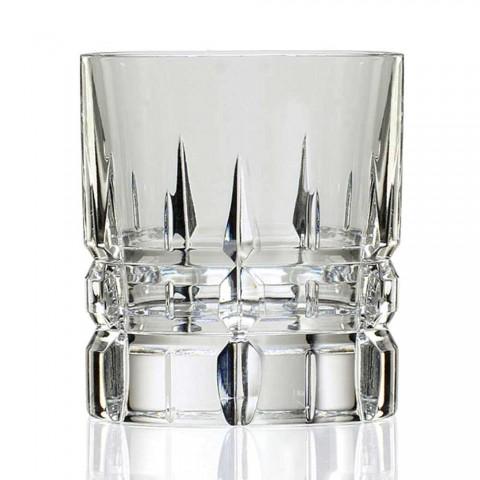 12 dubbla gammaldags tumlare Basso whiskyglasögon i kristall - Fiucco