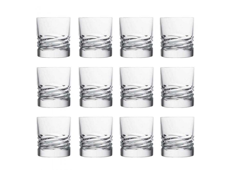 12 Crystal Glass Wave Decor för whisky eller Dof Tumbler Water - Titanium