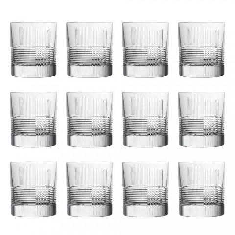 12 glas för vatten eller whisky Vintage Design i dekorerad kristall - taktil