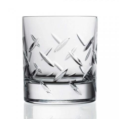 12 glas för whisky eller vatten i ekokristall med moderna dekorationer - arytmi