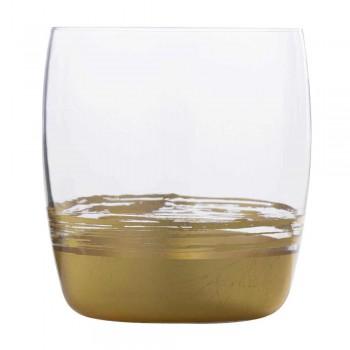 12 låga glasögon för vatten med guld, platina eller bronsblad - Soffio