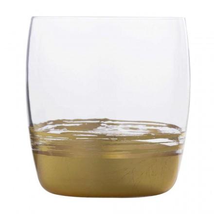 12 låga glasögon för vatten med guld-, platina- eller bronsblad - Soffio