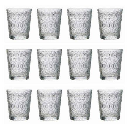 12 glasögon för vatten i dekorerat genomskinligt glas - marockobiskt