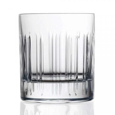 12 whisky- eller kristallvattenglas med lyxig linjär dekoration - arytmi