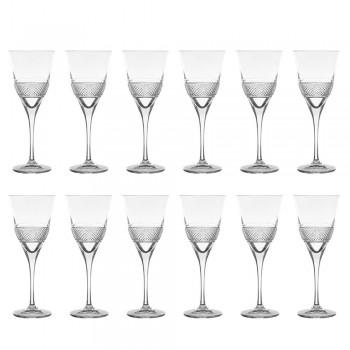 12 röda vinglas i Eco Crystal elegant dekorerad design - Milito