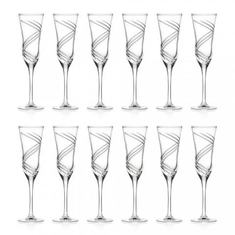 12 champagneflöjtglasögon i innovativt dekorerad ekologisk kristall - cyklon