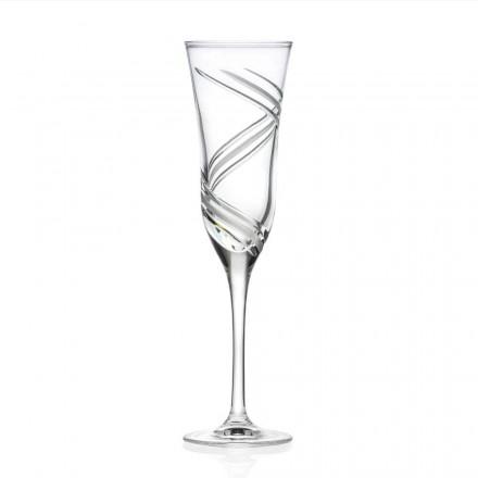 12 champagneflöjtglasögon i dekorerad ekologisk kristall tillverkad i Italien - cyklon