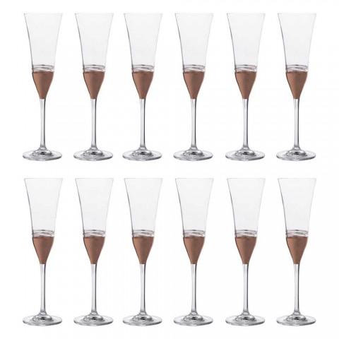 12 kristallflöjtsbägare med lyxig guldbrons eller platinablad - Soffio