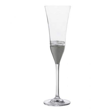 12 flöjtkristallglasögon med guld-, brons- eller platinablad, lyx - Soffio