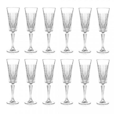 12 flöjtglas för mousserande vin med dekorationer med linjära skärningar i ekokristall - Senzatempo