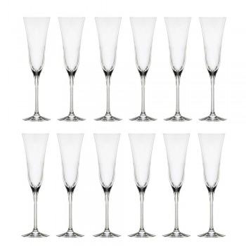 12 flöjtglas i ekologisk lyxkristall minimal design - slät