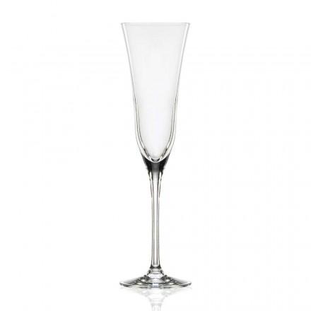 12 flöjtglas i ekologisk lyxig kristall, minimal design - slät