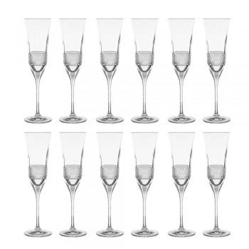 12 flöjtglas för champagne i ekologisk kristall med manuell dekoration - Milito