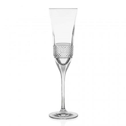 12 ekologiska kristallchampagne flöjtglas, handdekorerade - Milito