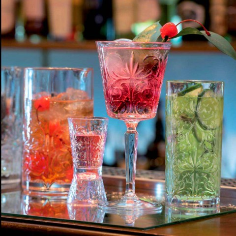 12 glas för vatten, drycker eller cocktaildesign i dekorerad ekokristall - Destino