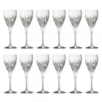 12 handdekorerade vita vinglas i ekologisk lyxkristall - Voglia