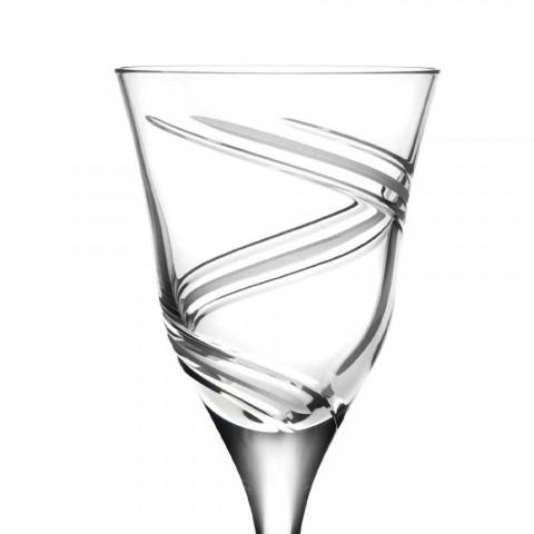 12 glas för vitt vin i dekorerad och satin ekologisk kristall - cyklon