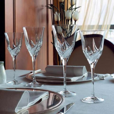 12 lyxdesign vita vinglas i handdekorerad ekokristall - advent