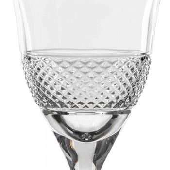 12 vita vinglas i ekologisk kristall lyxdekorerad design - Milito