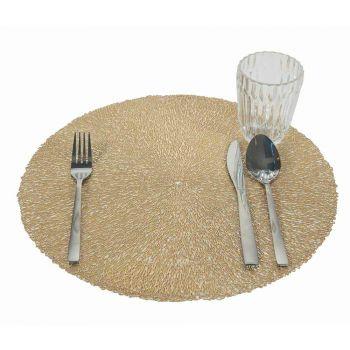 12 runda julplattformar PVC guld eller silver till lunch eller frukost - Tovagly