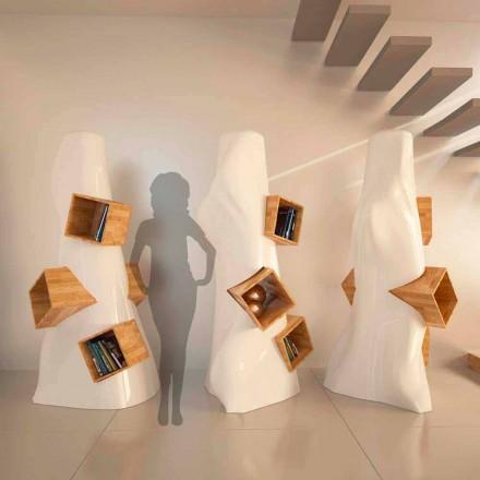 Modern design bokhylla i trä och K2 Solid Surface gjord i Italien