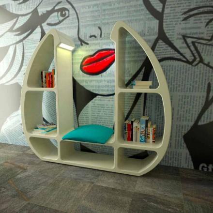 Modern design bokhylla i Solid Surface Shelley tillverkad i Italien