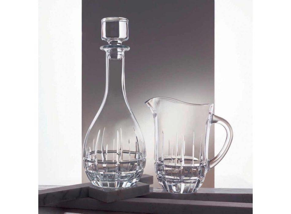 2 flaskor med rund vinpropp i dekorerad kristall - Fiucco