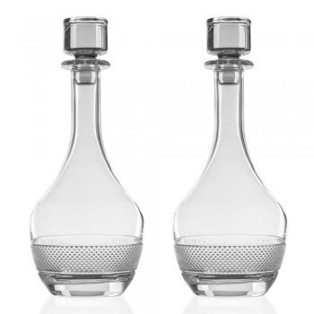 2 vinflaskor med ekologiskt kristalllock med rund design - Milito