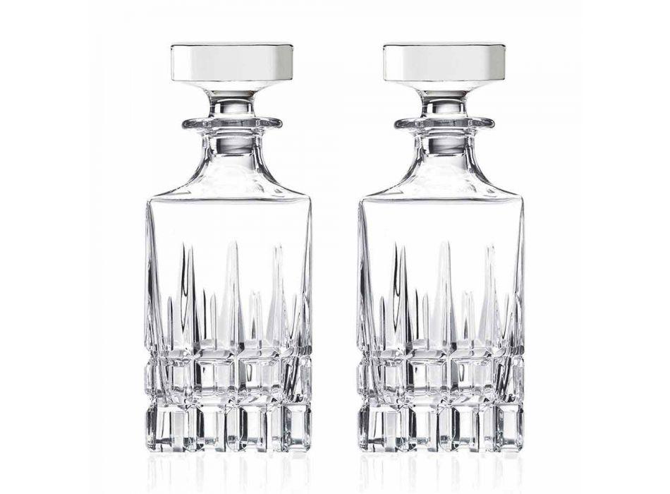 2 Whiskyflaskor med Crystal Cap Square Design med Cap - Fiucco