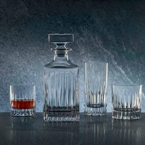 2 Crystal Whisky-flaskor med manuell slipning tillverkad i Italien - Voglia