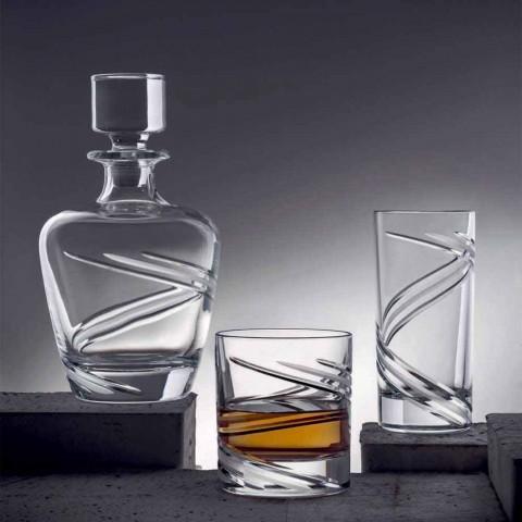 2 whiskyflaskor i italiensk hantverkare ekologisk kristall - cyklon