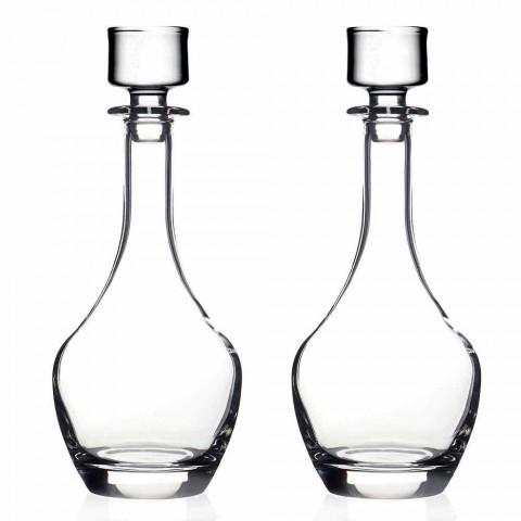 2 flaskor för viner i ekologisk kristall italiensk minimal design - slät