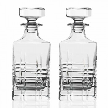 2 whiskyflaskor med kristalldekorerad fyrkantig designlock - arytmi