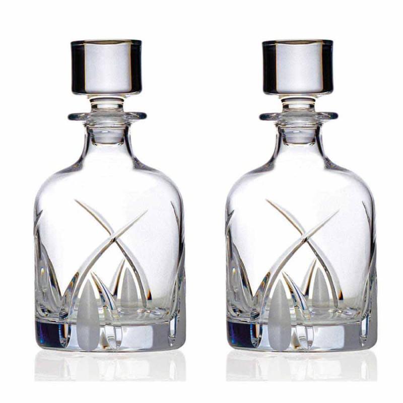 2 Whiskyflaskor med cylindrisk designlock i Eco Crystal - Montecristo