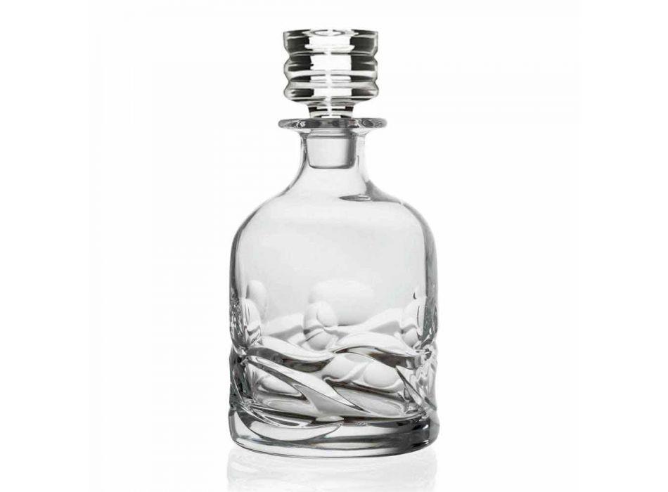 2 Eco-dekorerade Crystal Whisky-flaskor och lyxig designlock - Titanium