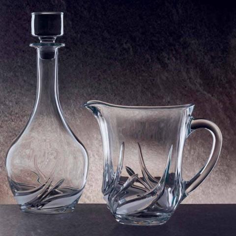 2 vattenkanna i ekologisk kristall med lyxiga dekorationer tillverkade i Italien - advent