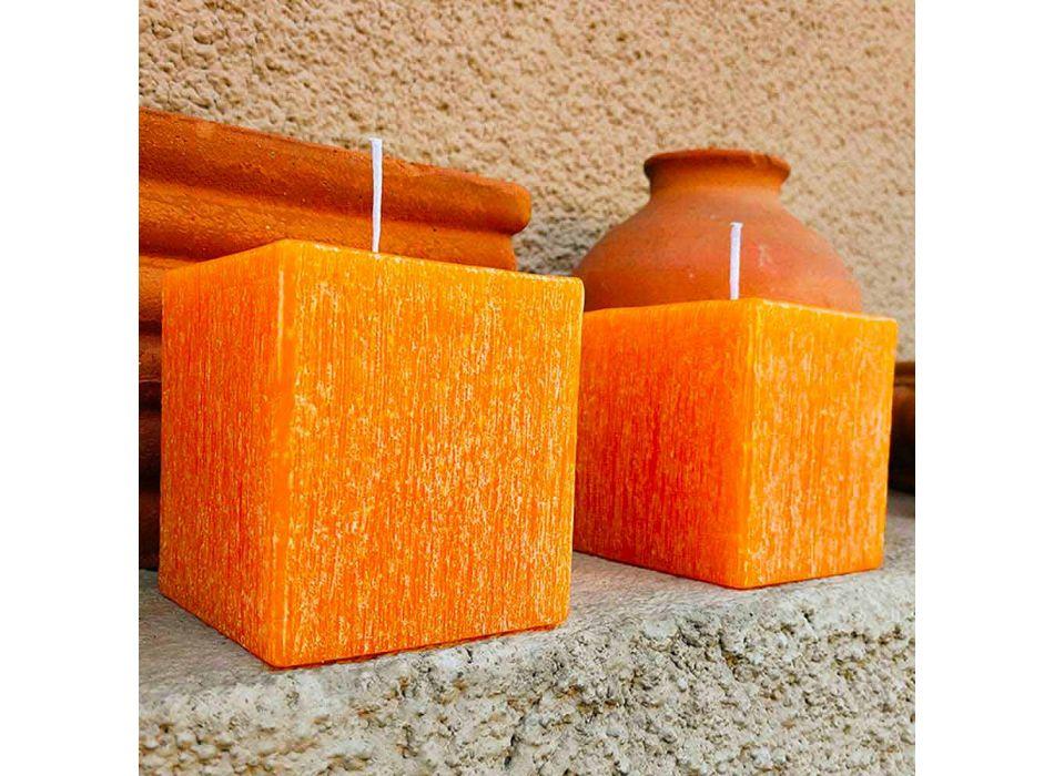 2 fyrkantiga ljus med olika storlekar i vax tillverkat i Italien - Adelle