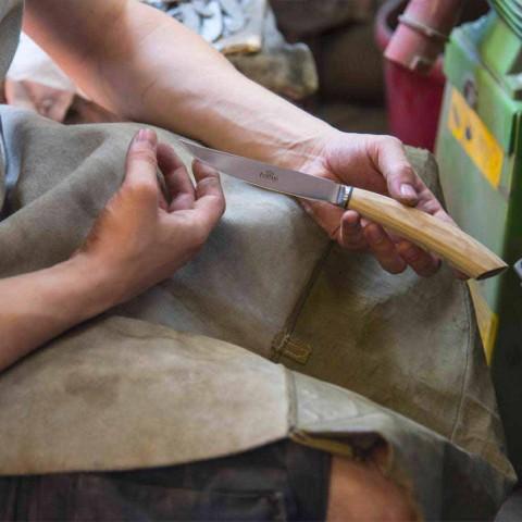 2 stekknivar med handtag i oxhorn eller trä tillverkat i Italien - Marino