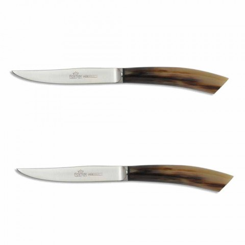 2 stekknivar med horn eller trähandtag tillverkat i Italien - Marino
