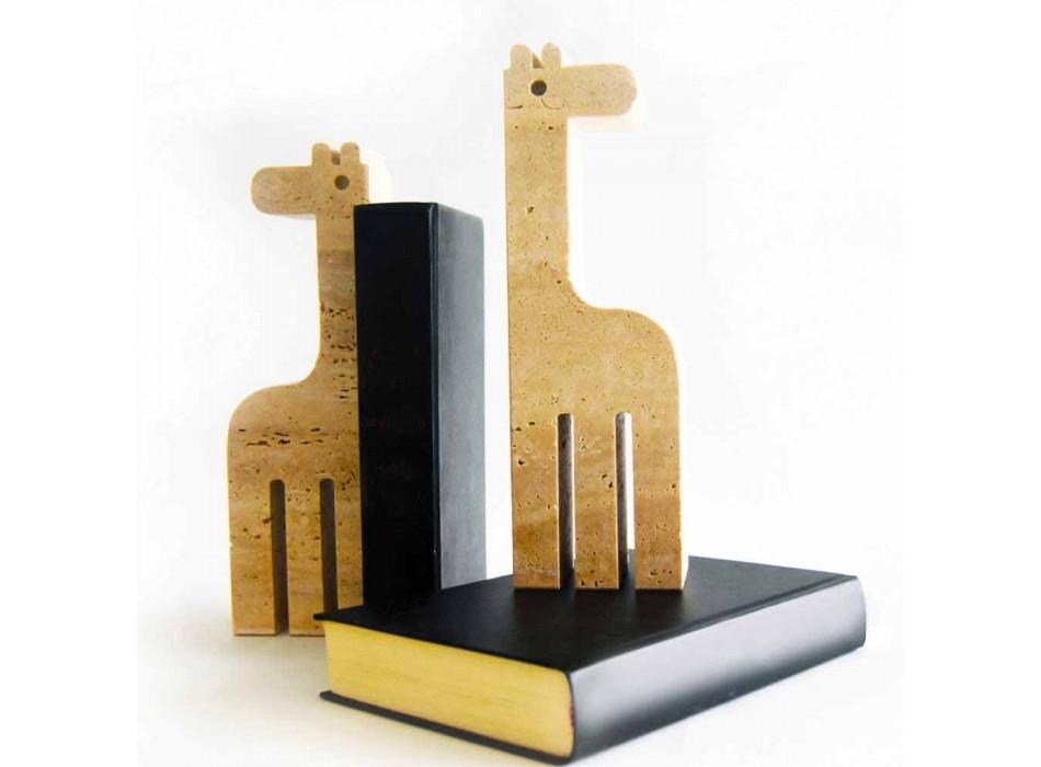 2 bokstöd i travertinmarmor i form av en giraff tillverkad i Italien - Morra