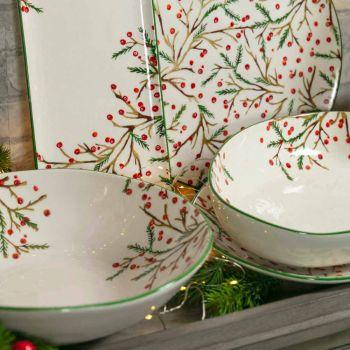 2 salladsskålar med juldekorationer i porslinskålar - Slaktkvast