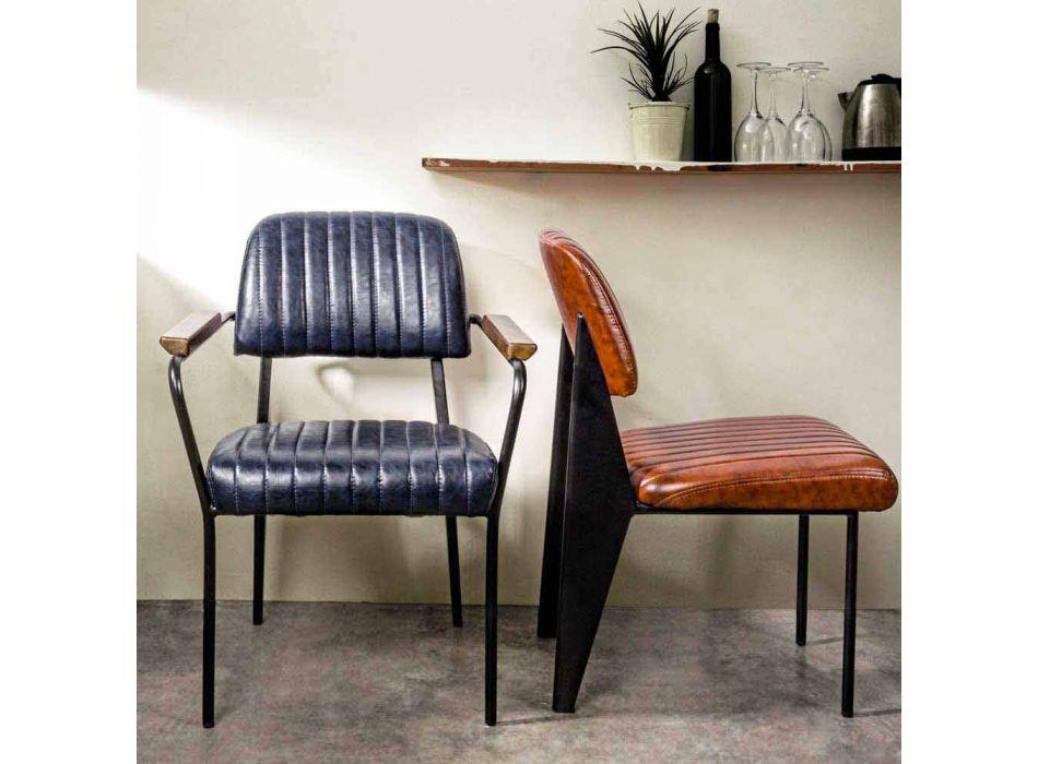 2 stolar med armstöd i konstläder Vintage Effect Homemotion - Clare