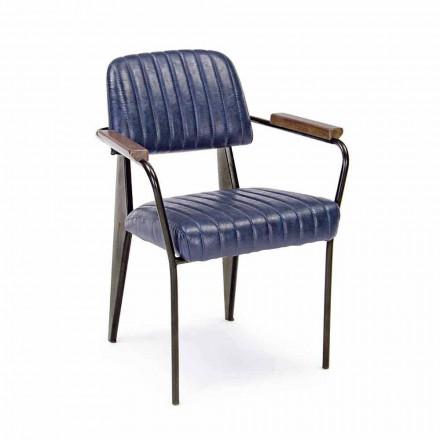 2 Vintage-effektläder Homemotion-stolar med armstöd - Clare