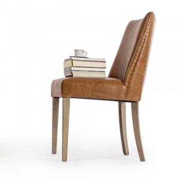 2 Designstolar i brunt konstläder och Homemotion i ek - Gallia