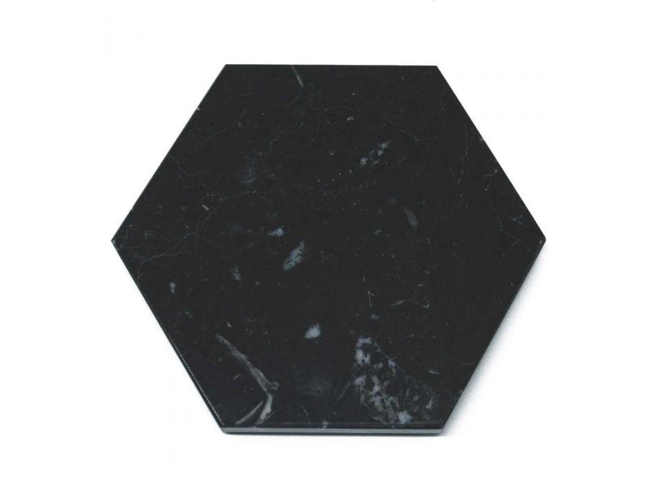 2 sexkantiga underlägg i vit, svart eller grön marmor tillverkad i Italien - Paulo