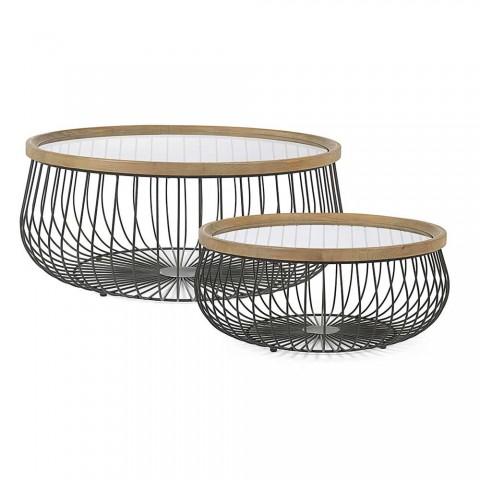 2 Homemotion kaffebord med runt glas och träplatta - Randolo
