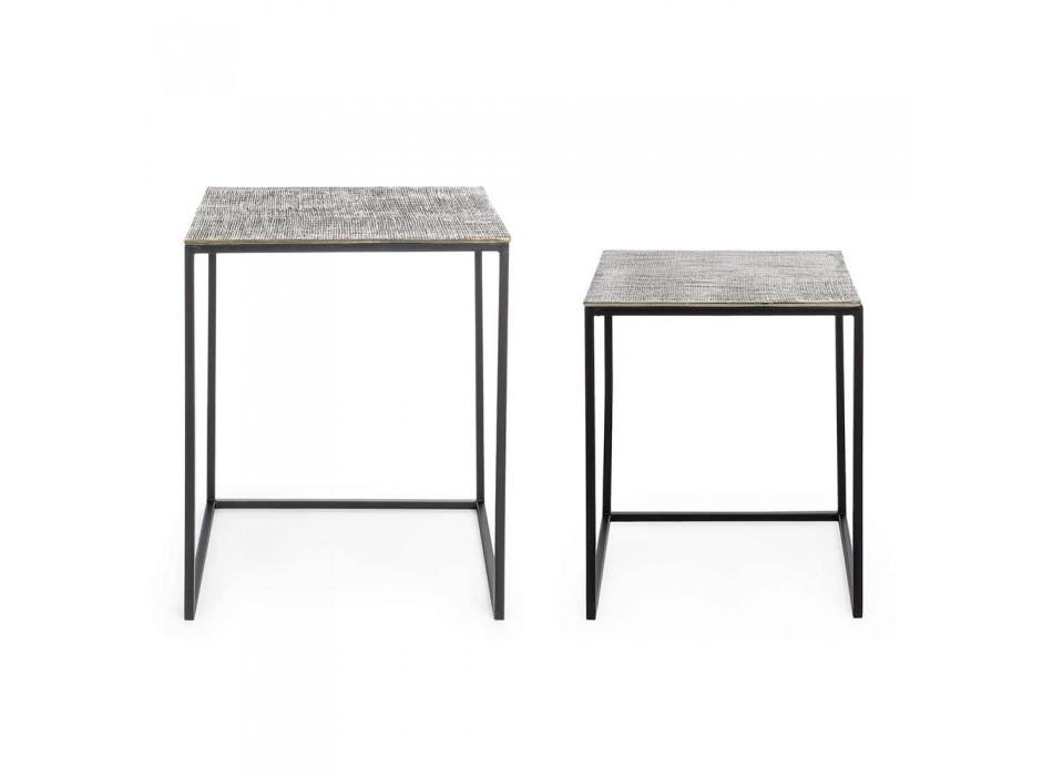 2 Kaffebord i aluminium och målat stål - Sereno