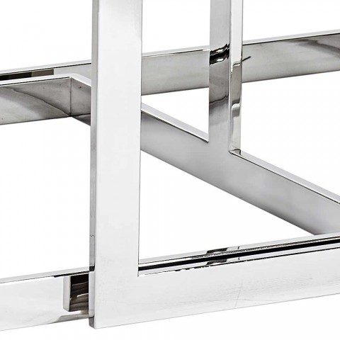 2 tabeller modern design i rostfritt stål med glasskiva Bubbi